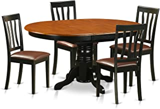 East West Furniture AVAT5-BLK-LC 5 Piece with 4 Wooden Chairs Avon Dining Set
