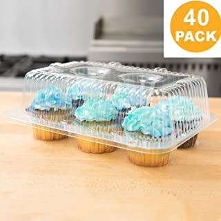 40 Cupcake Containers Plastic Disposable | High Dome Cupcake Boxes 6 Compartment Cupcake Holders Disposable Cupcake Carrier | Half Dozen Cupcake Trays | Durable Cup Cake Muffin Packaging Transporter