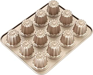 CHEFMADE Canele Mold Cake Pan, 12-Cavity Non-Stick Cannele Muffin Bakeware, FDA Approved Cupcake Pan for Oven Baking (Champagne Gold)