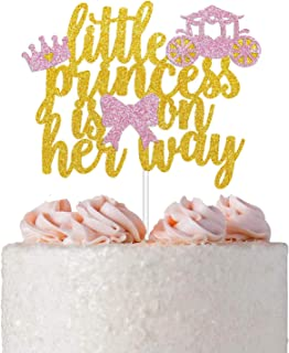 Little Princess Cake Topper for Princess Theme Baby Shower, Gender Reveal Party Supplies, Girl's Pink Birthday Cake Decoration with Tiara Carriage and Bow