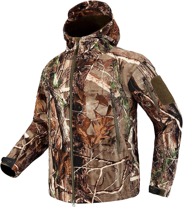 CARWORNIC Herren Tactical Outdoor Jagd Jacke Wasserdicht Softshell Fleece Camouflage Jacken