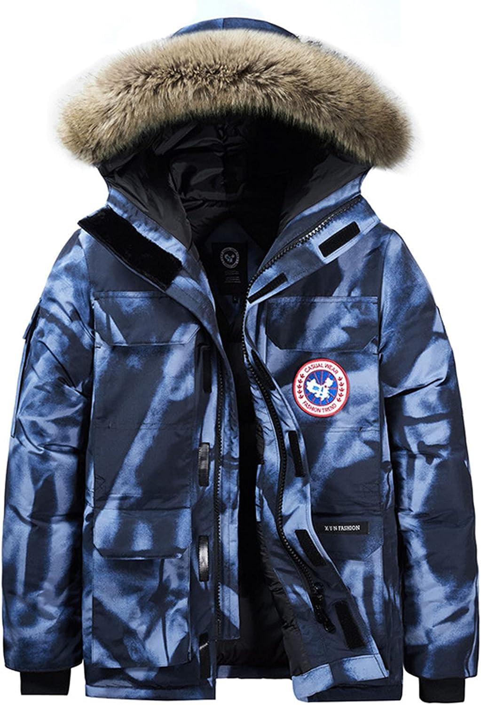 LZJDS Men's Warm Puffer Jacket Thicken Padded Winter Coat with Detachable Hood