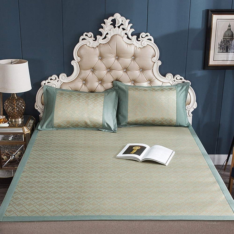 TYUIO Mattress Topper Pad Cooling Summer Sleeping Mat and Pillow Shams Set, Rattan mat mat Summer air-Conditioned Room Sleeping mat Foldable (color   C, Size   120X200cm)