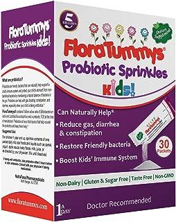 FloraTummys Probiotic Sprinkles for Kids: 30 Taste-Free, Powder Packets, Free of Food Allergens, Non-Dairy, Gluten & Sugar-Free, Non-GMO, Vegan. 5 Billion CFU, B. Lactis, L. Acidophilus (1)