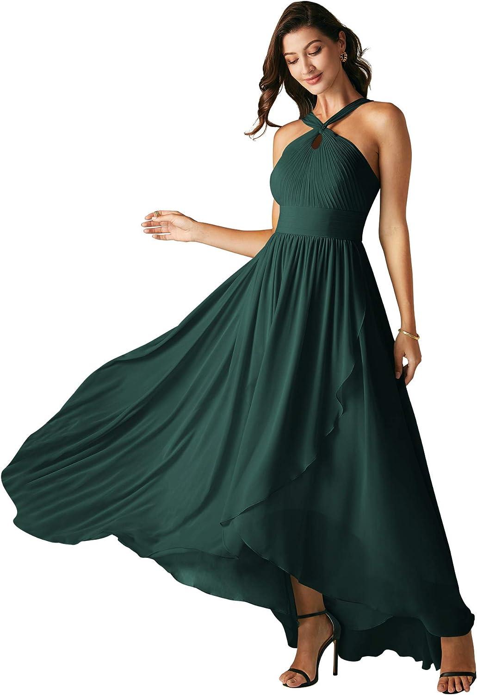 ALICEPUB Crisscross Chiffon Bridesmaid Dresses High Low Party Dress for Women