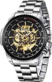 Mechanical Mens Watches Fashion Automatic Male Clock Black Stainless Steel Waterproof Business Luxury Skeleton Watch (Black)