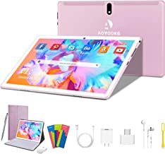 $129 » Tablet 10 inch, HD Touchscreen 2-in-1 Tablet with Keyboard Case Computer Quad-Core 1.3Ghz Processor 4G+64GB Harddrive Android 9.0 GO Tablets, Support 3G Phone Call, Type-C,BT4.2 GPS FM 4G WiFi- (Pink)