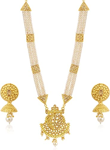 Classic LCT Gold Plated Wedding Jewellery Pearl Long Haram Necklace Set For Women N83782