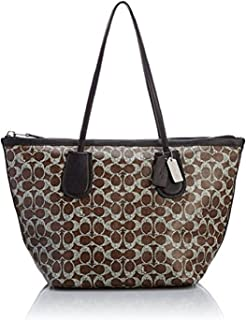 Coated Linen Signature Taxi Zip Tote 33504