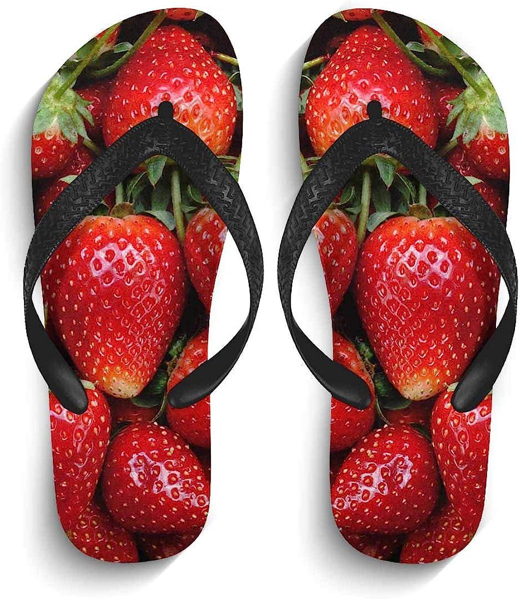InterestPrint Men's Flip Flops Black Straps Fresh Ripe Perfect Strawberry Casual Thongs Sandals for Beach Home S