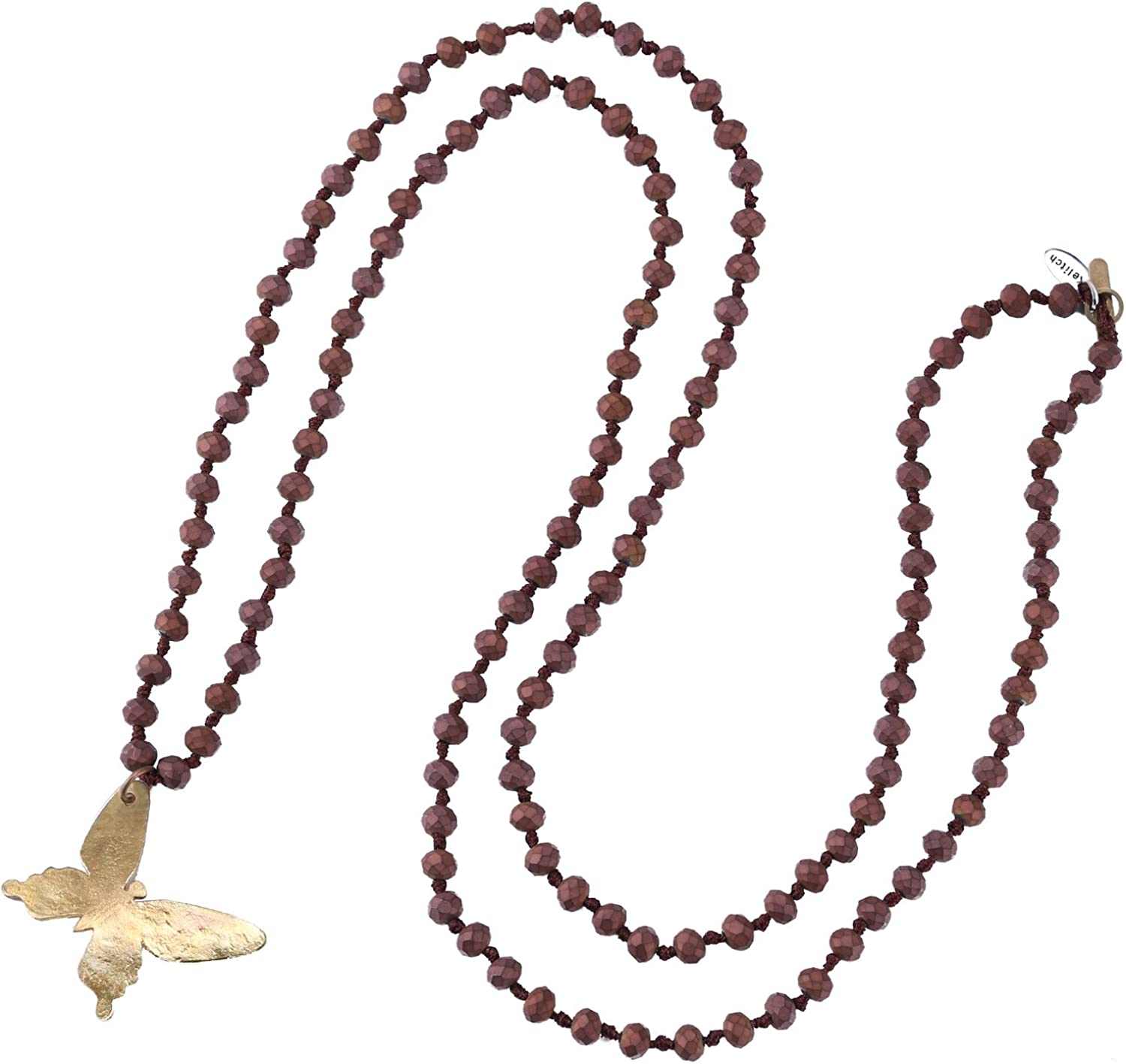 KELITCH Crystal Beaded Necklaces Hand Crafted Long Strand Necklace Agate Pendant Necklaces