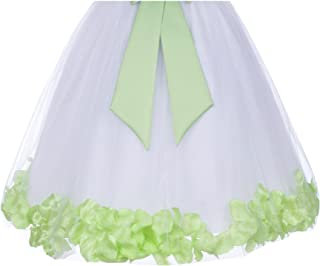 ekidsbridal Wedding Pageant Rose Petals White Tulle Flower Girl Dress Special Occasions 167S