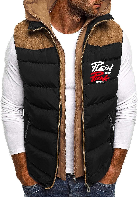 Men's Hoodie Zipper Waistcoat Vest Top Coat Down Gilet Casual Cardigan Sleeveless Warm Detachable Hooded Padded Jacket