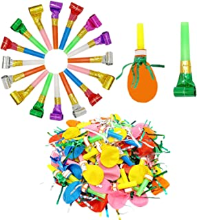 Kbraveo 180Pack Musical Blow Outs and Glitter Fringed Whistle Balloon Party Horns For Birthdays, New Year, and other Celebrations Party