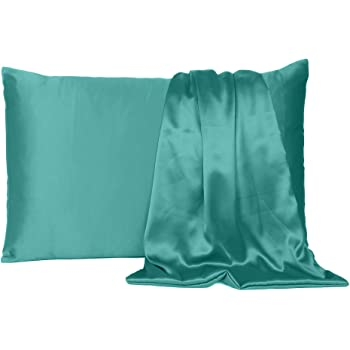 Find Here Satin 300 TC Pillow Cover Silk & Soft for Hair and Skin Standard ( 20 X 26 Inchs ) (Teal)