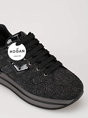 Amazon.com   Hogan Glitter H22 Sneaker, Black, 5.5 US   Shoes