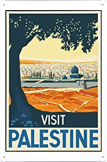 Tin Sign of Retro Vintage Travel Poster Visit Palestine (20x30cm) By Nature Scene Painting