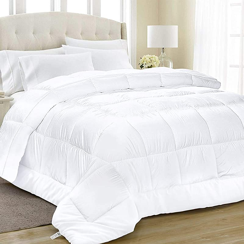 Equinox All Season White Quilted Comforter 88 X 88 Inches Goose Down Alternative Queen Comforter Duvet Insert Set Machine Washable Plush Microfiber Fill 350 GSM