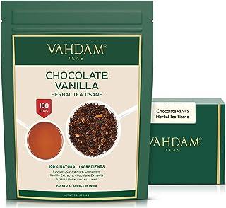 VAHDAM, Chocolate Vanilla Herbal Tea Tisane - (7oz each) 100+ cups   Rooibos + Artisanal CHOCOLATE + Creamy VANILLA loose-...