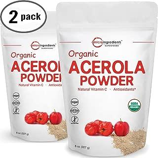 Pure USDA Organic Acerola Cherry Powder, Natural and Organic Vitamin C Powder, 8 Ounce, No GMOs and Vegan Friendly, 2 Pack