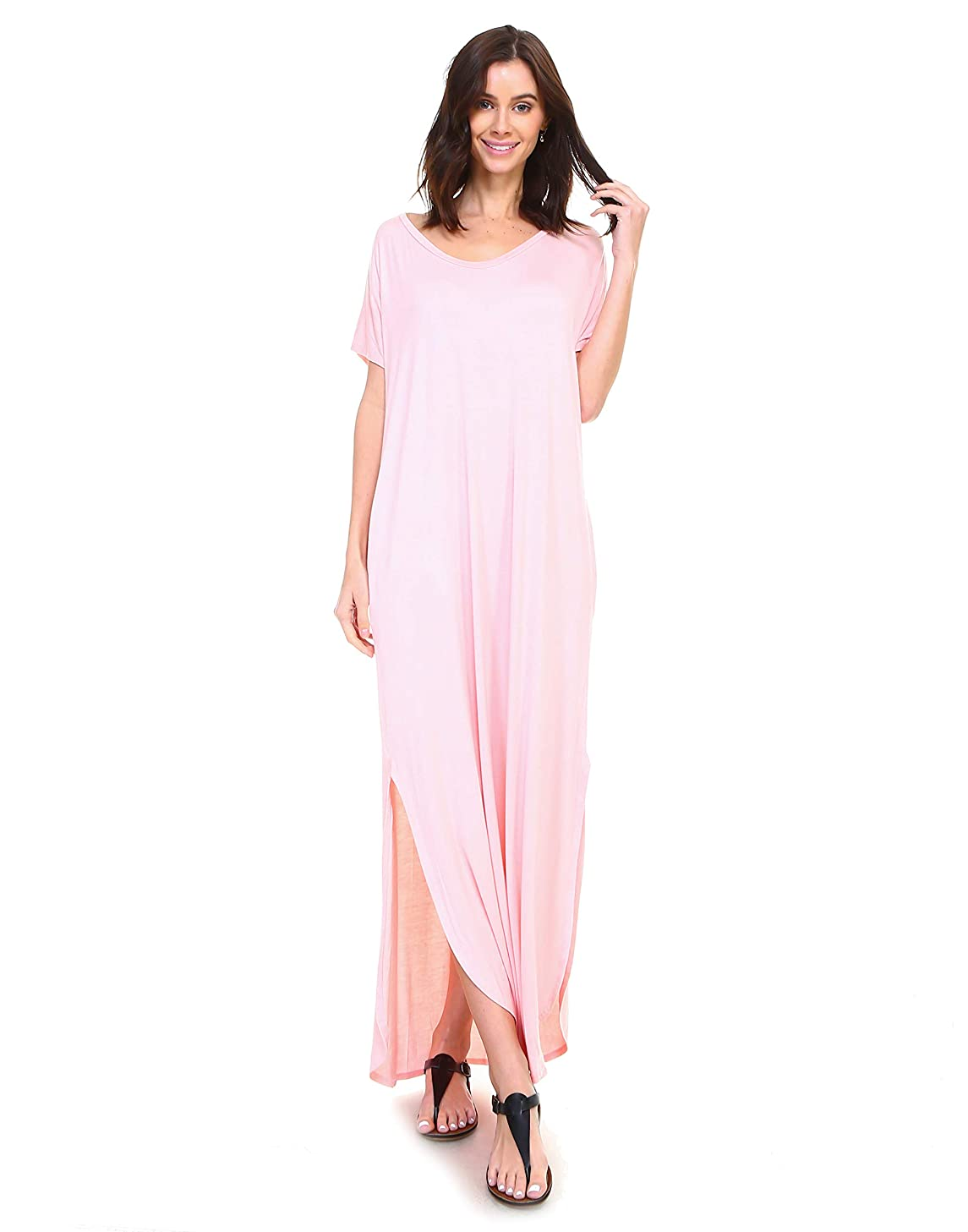 Isaac Liev Short Sleeve Maxi Dress with Pockets Loose Casual Long Dress with Scoop Neck, Splits & Side Pockets