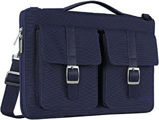 MOSISO Laptop Shoulder Bag with Organizer Pockets Spill Resistant Polyester Protective Briefcase Handbag Carrying Sleeve Case Cover Blue Navy Blue 13-13.3 Inch