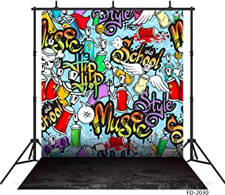 FUWOOD 5X7ft 3D Graffiti Wall Music Style Colorful Wall Concrete Floor Photography Backgrounds for Photo Studio Photophone Vinyl Cloth Backdrop for Bbay Newborn Children Portrait Photo Shootings