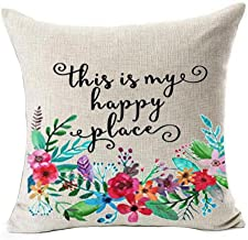 Plant Flower Phrases This is My Happy Place Inspirational Housewarming Birthday Gift Cotton Linen Throw Pillow Covers Case Cushion Cover Sofa Decorative Square 18 x 18 inch (2)