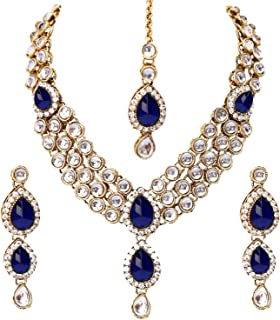 deac0675a2 Shining Diva Kundan Traditional Necklace Jewellery Set with Earrings for  Women (Blue) (8408s