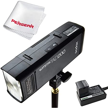Godox AD200 200Ws 2.4G TTL Flash Strobe 1/8000 HSS Cordless Monolight with 2900mAh Lithimu Battery and Bare Bulb/Speedlite Fresnel Flash Head to Cover 500 Full Power Shots and Recycle in 0.01-2.1 Sec