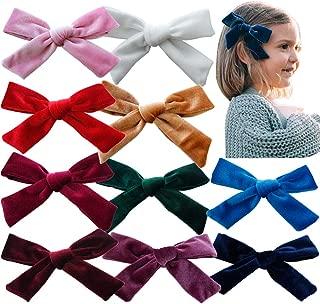 Big Hair Bows Girls Toddler Velvet 5 inches 10 PCS Hair Clips for Girls Alligator Baby Ponytail Holder