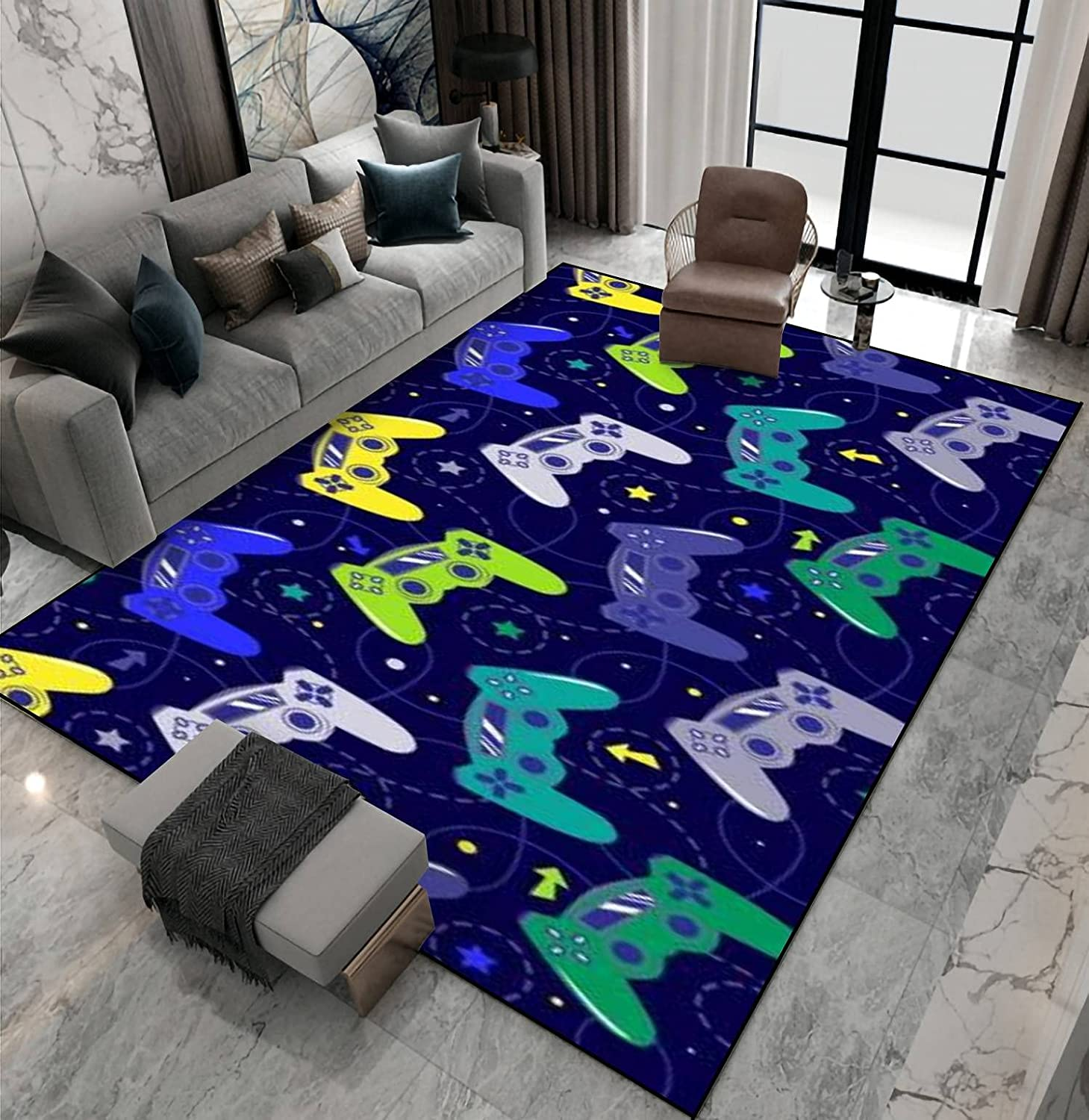 Area Rug Non-Slip Floor OFFicial shop Detroit Mall Mat joystic with Bright Seamless Pattern