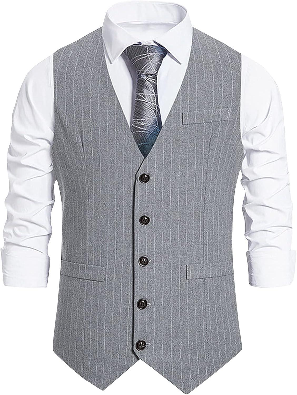 Men's Suit Vests, Mens Tailored Fit Cotton Check Suit Vest Vintage Retro V-Neck Slim Fit Casual Wedding Vests
