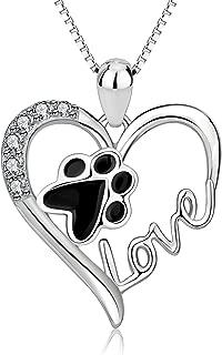Collares Mujer Plata de Ley 925 Colgante de Corazón con Huella de Perro Gato Joyería de Mujer Joven