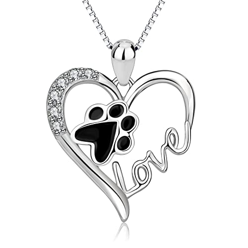 6a1d27030ba5 925 Sterling Silver Pet Paw Print Love Heart Pendant Necklace with Gift Box