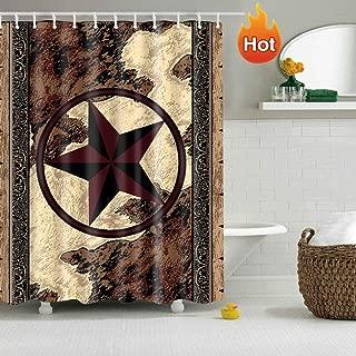 Western Texas Star Bathroom Shower Curtain with 12 Hooks Decor Art Prints Waterproof Polyester (Western Texas Star)