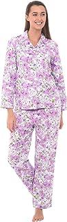 Alexander Del Rossa Women's Lightweight Button Down Pajama Set, Long Paisley Cotton Pjs