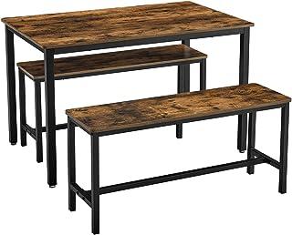 VASAGLE Ensemble Table à Manger et bancs, Table de 110 x 70 x 75 cm, 2 Bancs de 97 x 30 x 50 cm, Cadre en Acier, pour Cuis...