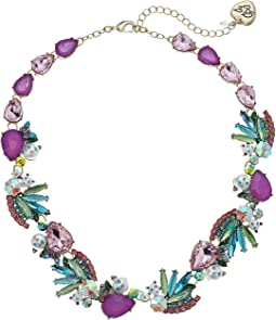 Colorful Stone and Cat Cluster Collar Necklace