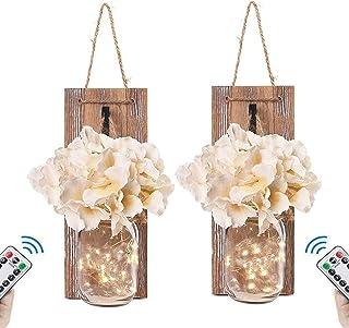 2 PCS Appliques Lanterne Mason Jar,2 Panneaux Fleurs De Soie Télécommande Suspendue Murale LED Chaîne Fée Jardin Lumière E...