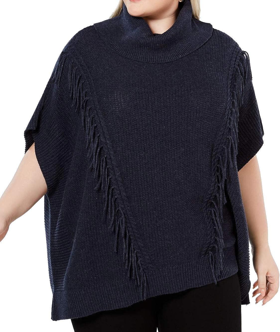 Anne Klein Women's Size Plus Fringe Turtleneck Poncho