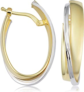 KoolJewelry 14k Two-tone Yellow and White Gold Overlapping Oval Hoop Earrings (17.5x27 mm)