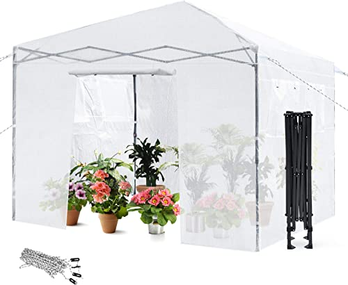 wholesale Giantex Greenhouse Outdoor Mini Walk-in Plant Portable Garden Greenhouse 2021 with discount PE Cover, Roll-Up Zippered Door and 4 Observation Windows, Including Anchors and Ground Pegs & Ropes (White) outlet sale