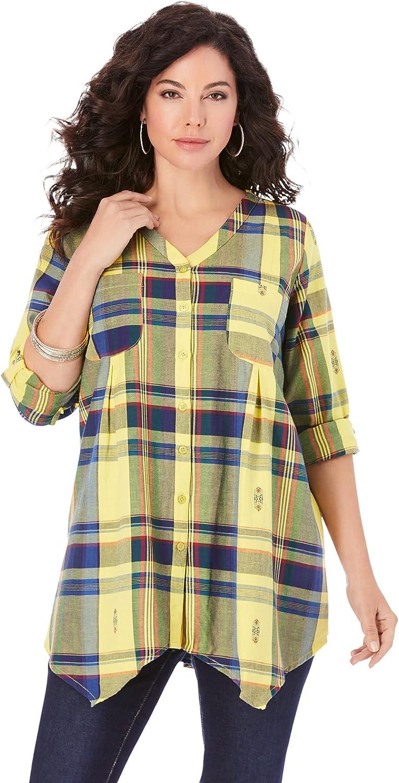 Roaman's Women's Plus Size Soft Plaid Button-Up Big Shirt