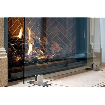 """Manhattan Modern Free Standing Glass Fireplace Screen (Clear, Stainless Steel Feet) Medium (39"""" x 29"""")"""