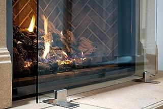 Manhattan Modern Free Standing Glass Fireplace Screen (Clear, Stainless Steel Feet) Medium (39
