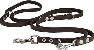 Dogs My Love Brown 6-Way European Multifunctional Leather Dog Leash, Adjustable Schutzhund Lead 49