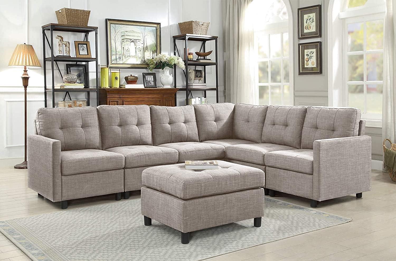 Sectional Sofa Ottoman Set 大決算セール 6 送料無料 一部地域を除く Corner Cou Seater Modular
