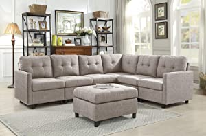 Sectional Sofa Ottoman Set 6 Seater Modular Corner Sectional Couches Living Room Furniture Sets Reversible L Shape Couch Set, Light Grey