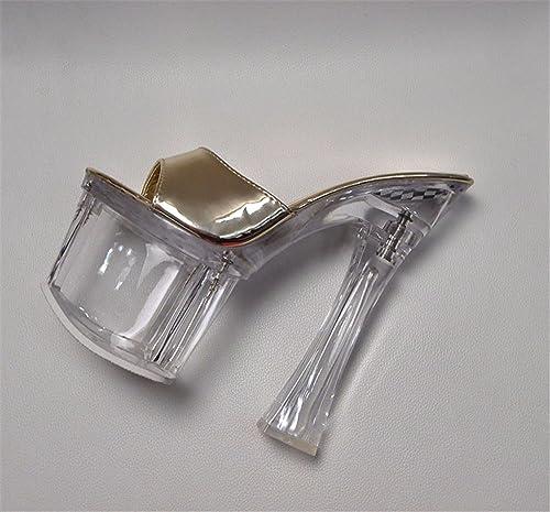HXVU56546 Ultra-Pasarela Constante damen Cool Hausschuhe Impermeables Gruesas Solo Cristal Transparente Ultra Bold Y 18Cm,35, Gold